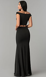 Image of long mermaid off-the-shoulder two-piece prom dress. Style: DQ-2205 Back Image