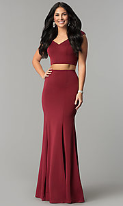 Image of long mermaid off-the-shoulder two-piece prom dress. Style: DQ-2205 Front Image