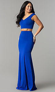 Image of long mermaid off-the-shoulder two-piece prom dress. Style: DQ-2205 Detail Image 2