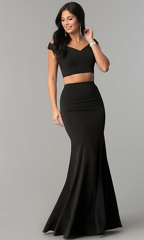 Image of long mermaid off-the-shoulder two-piece prom dress. Style: DQ-2205 Detail Image 1