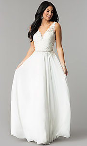 Image of chiffon wedding guest dress with embroidered lace. Style: DQ-2161 Detail Image 2