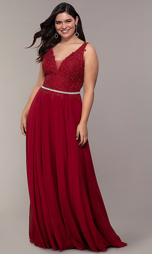 Image of chiffon wedding guest dress with embroidered lace. Style: DQ-2161 Front Image