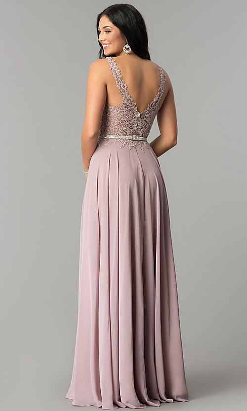 Image of chiffon wedding guest dress with embroidered lace. Style: DQ-2161 Back Image