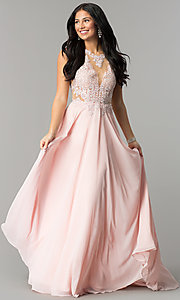 Image of illusion lace-bodice long open-back prom dress. Style: DQ-2015 Detail Image 1