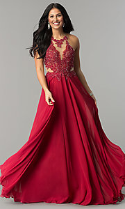 Image of illusion lace-bodice long open-back prom dress. Style: DQ-2015 Detail Image 3