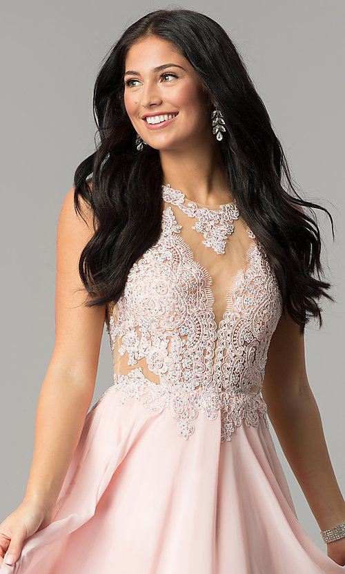 Image of illusion lace-bodice long open-back prom dress. Style: DQ-2015 Detail Image 2
