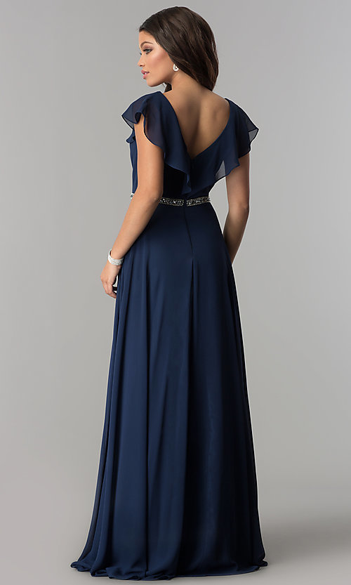 Image of v-neck long chiffon formal dress with beaded waist. Style: DQ-2072 Back Image