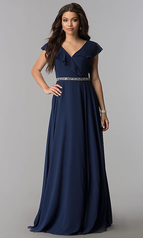 Image of v-neck long chiffon formal dress with beaded waist. Style: DQ-2072 Front Image