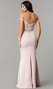 Image of long prom dress with off-the-shoulder boned bodice.  Style: DQ-2164 Front Image