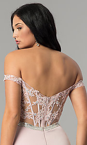 Image of long prom dress with off-the-shoulder boned bodice.  Style: DQ-2164 Detail Image 2
