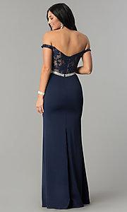 Image of long prom dress with off-the-shoulder boned bodice.  Style: DQ-2164 Detail Image 4