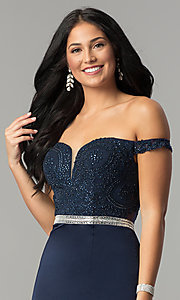 Image of long prom dress with off-the-shoulder boned bodice.  Style: DQ-2164 Detail Image 5