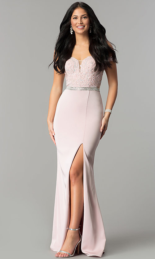 Image of long prom dress with off-the-shoulder boned bodice.  Style: DQ-2164 Back Image
