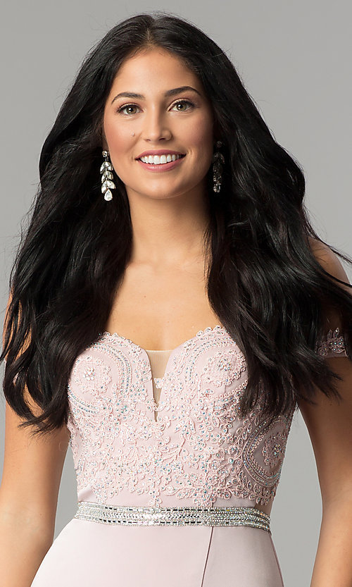 Image of long prom dress with off-the-shoulder boned bodice.  Style: DQ-2164 Detail Image 1
