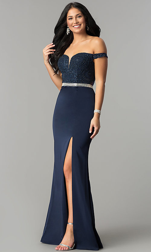 Image of long prom dress with off-the-shoulder boned bodice.  Style: DQ-2164 Detail Image 3