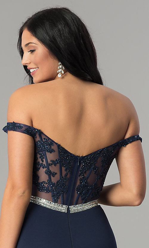 Image of long prom dress with off-the-shoulder boned bodice.  Style: DQ-2164 Detail Image 6
