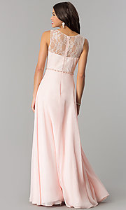 Image of lace-bodice long chiffon formal dress with beads. Style: DQ-2240 Back Image