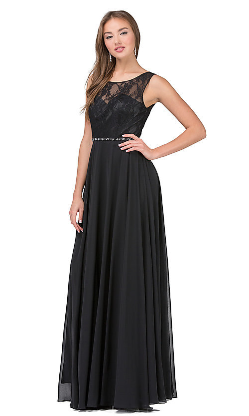 Image of lace-bodice long chiffon formal dress with beads. Style: DQ-2240 Detail Image 3