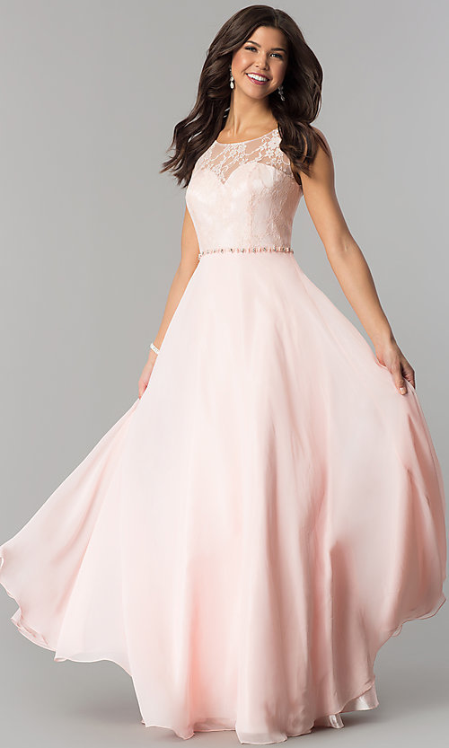 Image of lace-bodice long chiffon formal dress with beads. Style: DQ-2240 Detail Image 1