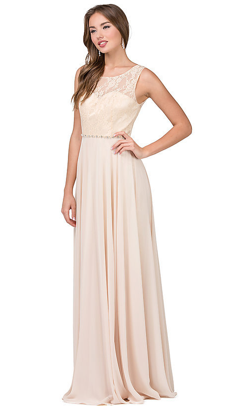 Image of lace-bodice long chiffon formal dress with beads. Style: DQ-2240 Detail Image 4