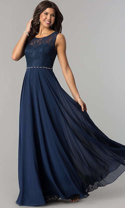 Image of lace-bodice long chiffon formal dress with beads. Style: DQ-2240 Front Image