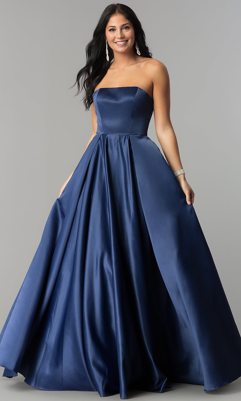 ball gown prom strapless dress corset dresses gowns formal satin evening promgirl plus navy lace styles 2211 dq