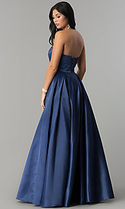 Image of strapless long prom ball gown with corset back. Style: DQ-2211 Back Image