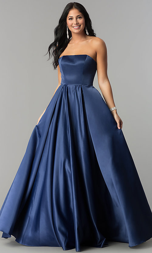 Image of strapless long prom ball gown with corset back. Style: DQ-2211 Front Image