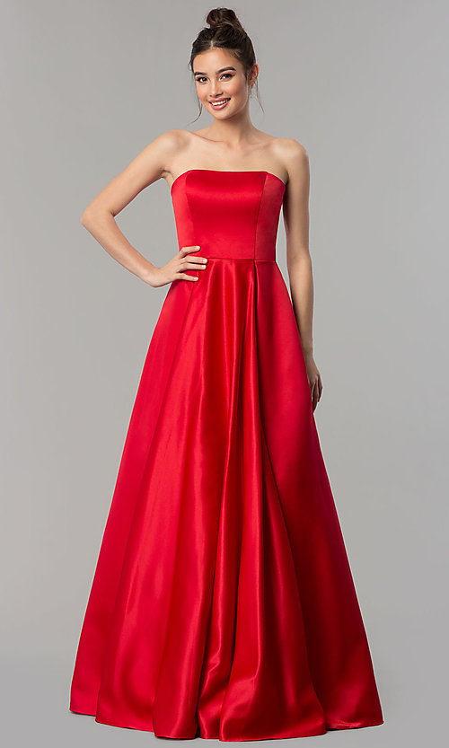 Image of strapless long prom ball gown with corset back. Style: DQ-2211 Detail Image 2