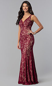 Image of long sleeveless illusion-v-neck lace prom dress. Style: DQ-2221 Detail Image 2