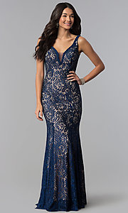 Image of long sleeveless illusion-v-neck lace prom dress. Style: DQ-2221 Detail Image 3