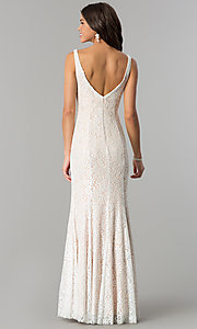 Image of long sleeveless illusion-v-neck lace prom dress. Style: DQ-2221 Back Image