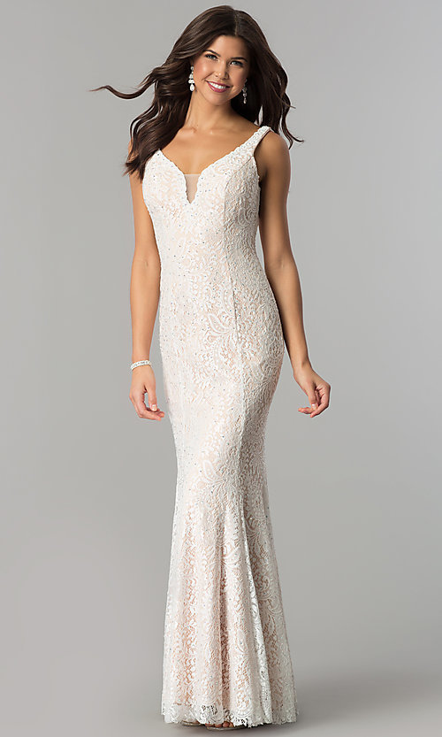 Image of long sleeveless illusion-v-neck lace prom dress. Style: DQ-2221 Front Image