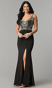 Image of cold-shoulder beaded-bodice long formal prom dress. Style: DQ-2187 Front Image