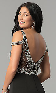 Image of cold-shoulder beaded-bodice long formal prom dress. Style: DQ-2187 Detail Image 2