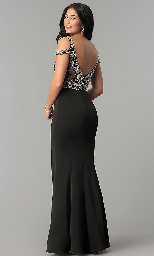 Image of cold-shoulder beaded-bodice long formal prom dress. Style: DQ-2187 Back Image