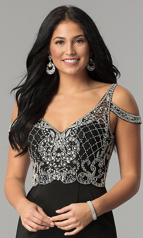 Image of cold-shoulder beaded-bodice long formal prom dress. Style: DQ-2187 Detail Image 1