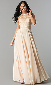 Image of embroidered-bodice long formal chiffon prom dress. Style: DQ-2092 Detail Image 1