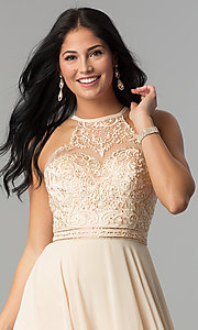Image of embroidered-bodice long formal chiffon prom dress. Style: DQ-2092 Detail Image 2