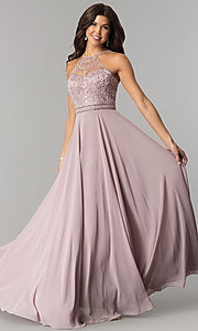Image of embroidered-bodice long formal chiffon prom dress. Style: DQ-2092 Front Image