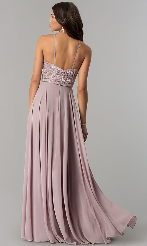 Image of embroidered-bodice long formal chiffon prom dress. Style: DQ-2092 Back Image