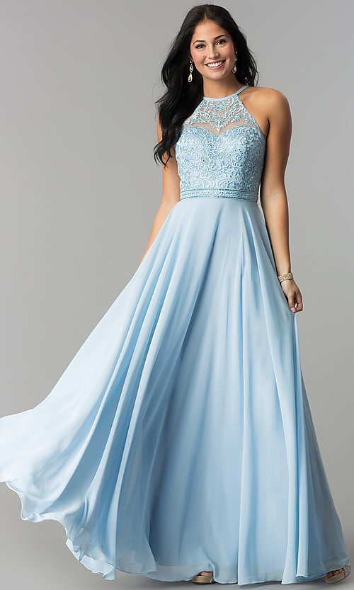 Image of embroidered-bodice long formal chiffon prom dress. Style: DQ-2092 Detail Image 3