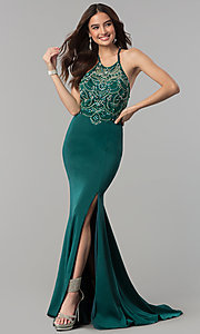 Image of long beaded-bodice illusion-high-neck prom dress. Style: DQ-2200 Detail Image 2