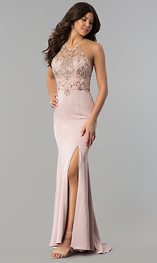 Long Beaded-Bodice Illusion-High-Neck Prom Dress