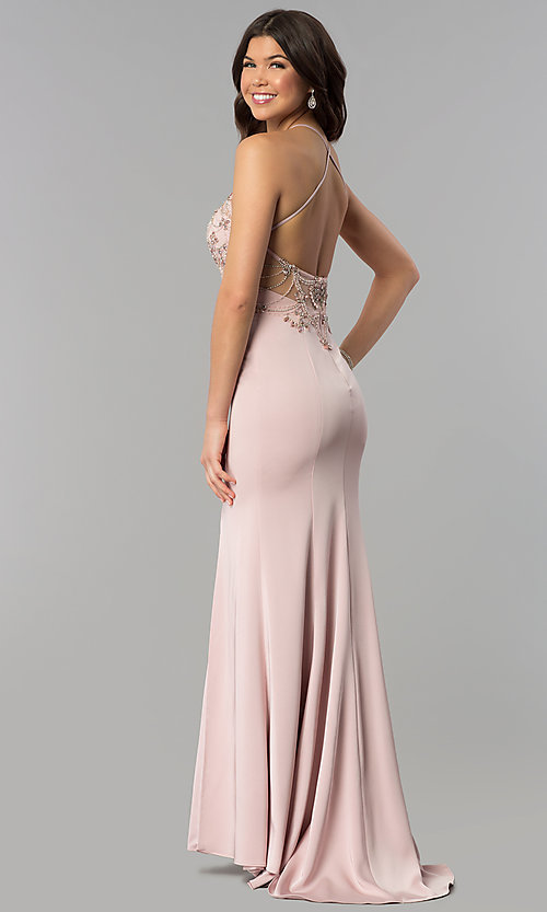 Image of long beaded-bodice illusion-high-neck prom dress. Style: DQ-2200 Back Image