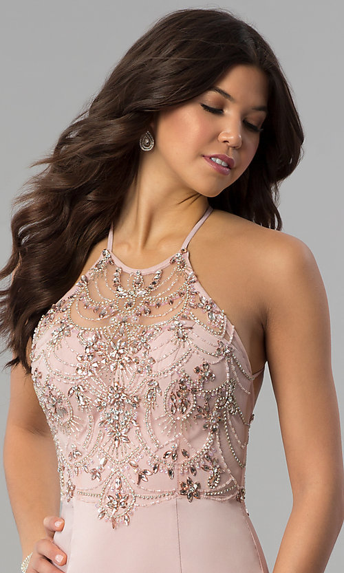 Image of long beaded-bodice illusion-high-neck prom dress. Style: DQ-2200 Detail Image 1