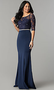 Image of long formal lace-bodice prom dress with sleeves. Style: DQ-2201 Front Image