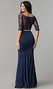 Image of long formal lace-bodice prom dress with sleeves. Style: DQ-2201 Back Image