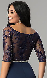 Image of long formal lace-bodice prom dress with sleeves. Style: DQ-2201 Detail Image 2