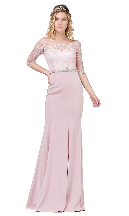 Image of long formal lace-bodice prom dress with sleeves. Style: DQ-2201 Detail Image 3